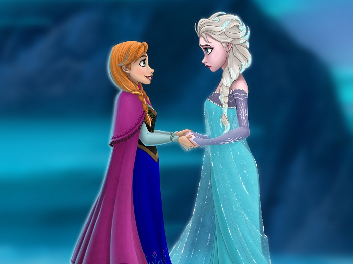 anna and elsa holding hands